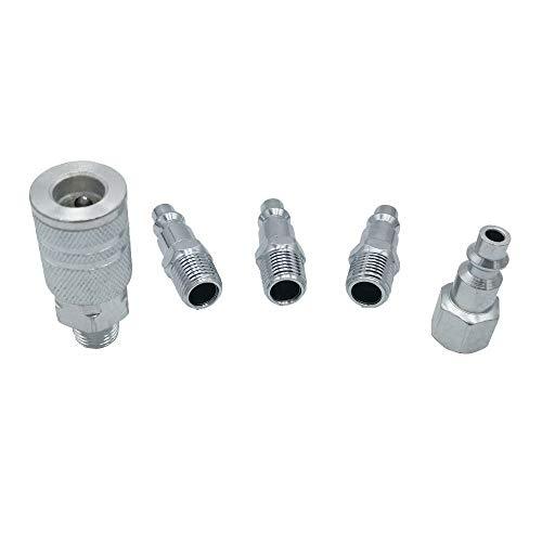 KKmoon 5 Stücke Kompressor Schlauch Fitting Anschluss Schnellkupplung Schnellverschluss Set 1/4 &quot NPT