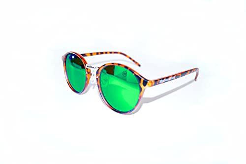 Gafas de Sol Polarizada Mujer con Montura TIGER y Lentes Redondas Espejadas en color VERDE JADE