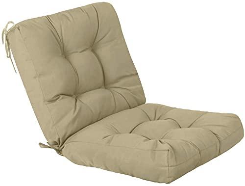 1 Cojin con Respaldo para sillas de Interior y Exterior. Cojines Acolchados para sillas terraza, Comedor y Cocina (Beige)