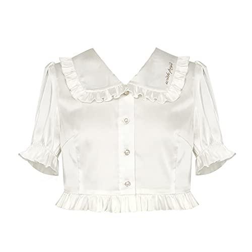 JLCYYSS Camisa corta bordada de Lolita, manga de soplo de satn, para nias adolescentes, suave, bonita,dulce,camisaelegante, disfraz de cosplay S bordado,camisetacorta