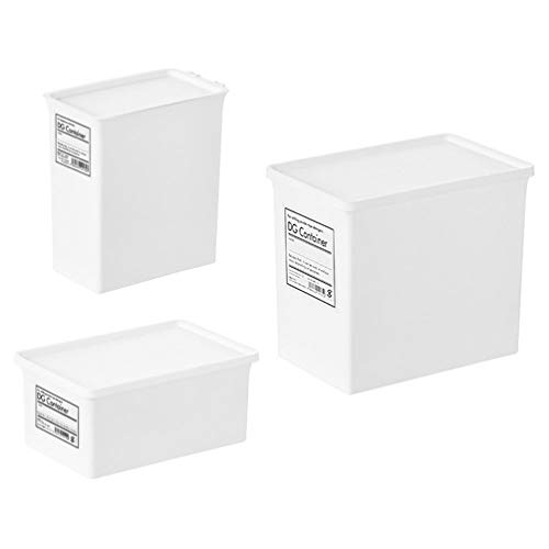 Hemoton Plastic Stackable Box Cube Bin Household Storage Container With Lid for Organizer Shampoo Conditioner Towels Accessories 3pcs