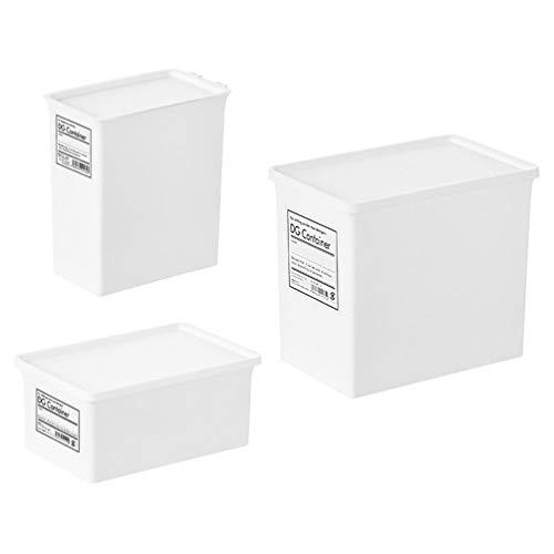 Hemoton Caja apilable de plástico cubo contenedor de almacenamiento para el hogar con tapa para organizador champú acondicionador toallas accesorios 3 unids