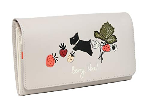 Radley Large Leather Flapover Matinee Purse Wallet Berry Nice in Dove Grey