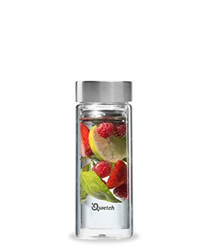 Qwetch QT5020 roestvrij staal glas thee thermoskan 350 ml incl. 2 theefilters