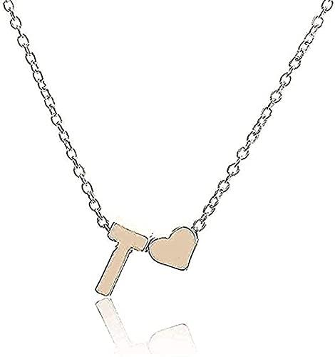 Aluyouqi Co.,ltd Collar Mujer Collar Hombre Collar Cadena Collar para Mujer Carta y Corazón Colgante Collar Joyería Simple Niña Niño Collar Regalos