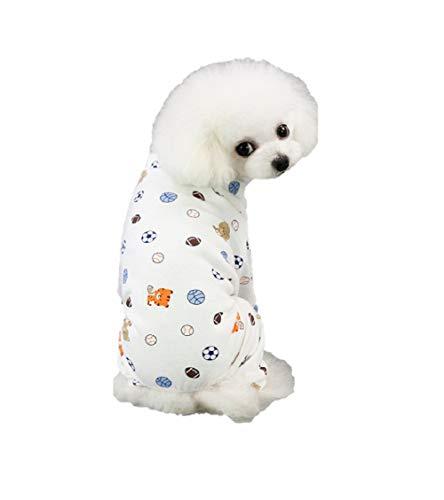 Ducomi Piji Pyjama für Hunde, aus Baumwolle, Größe S und M, Pyjama, Katzen, 4 Pfoten, Overall, Haustiere, Katze, Kostüm, Kleidung für Halloween, Fasching (Football, L)