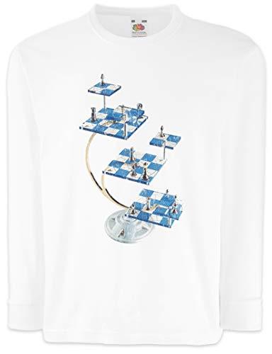 Urban Backwoods Star Chess Camisetas de Manga Larga T-Shirt para Niños Niñas Blanco Talla 10 Años