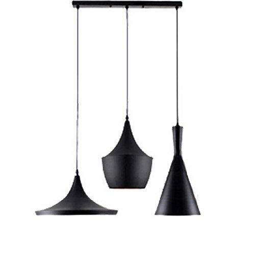 Industriel Lustre Vintage Suspension Luminaire Pendentif Lampe Aluminisé Salle À Manger Chambre Noir Rétro Fer Design Suspendu Lampe Éclairage 3*E27 Luminaire Intérieur Lampe En Métal Lampe Bar
