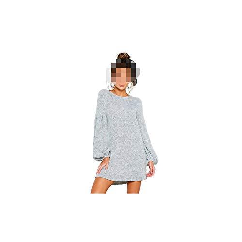 Gebreide jurk lantaarn dames hemd lange mouwen