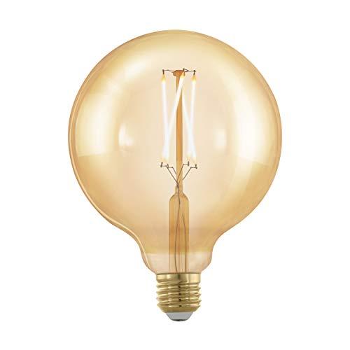 EGLO LED E27 dimmbar, Golden Vintage Glühbirne, LED Globe, Retro Beleuchtung, 4 Watt (entspricht 30 Watt), 320 Lumen, E27 LED warmweiß, 1700 Kelvin, LED Leuchtmittel, Edison Glühbirne G125, Ø 12,5 cm