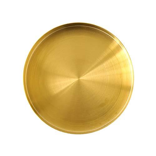 DOKOT Bandejas Metal Doradas Decorativa para Platos Organizador Redondo de Acero Inoxidable para Joyas y Maquillaje Cosméticos 18 cm