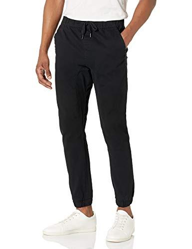 WT02 Men's Twill Jogger Pants, Black(All Season), Large