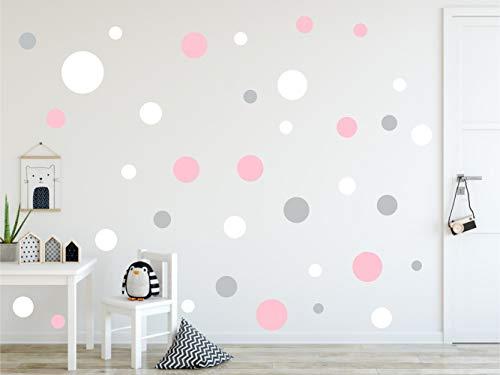 Timalo® 60 adhesivos de pared para habitación infantil, diseño de círculos grandes, colores pastel, tamaño XL, 73080-SET20-60
