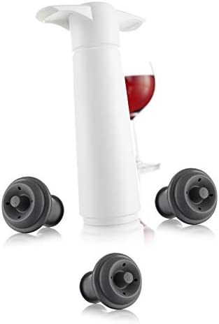 Vacu Vin The Original Wine Saver Pump WHITE with 3 Gray Vacuum Wine Bottle Stoppers product image
