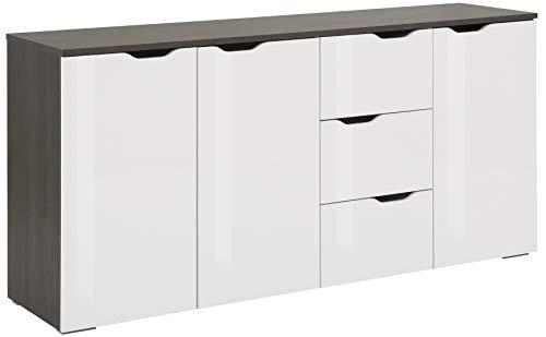 MAJA Möbel Gloss Kommode, Holzwerkstoff, Weiß Hochglanz - Ash-Oak, 160,1 x 77,7 x 40,0