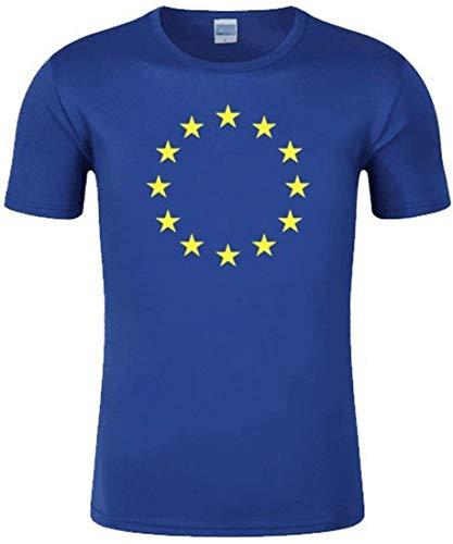 EUDOLAH Manga Corta de Las Mujeres Patrón de Bandera de la UE Estrella Amarilla T-Shirt(Azul-b,4XL)