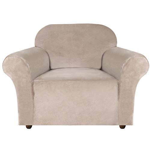 E EBETA Samt-Optisch 1 Sitzer Sofabezug Spandex Couchbezug Sesselbezug, Elastischer Antirutsch Sofahusse für Wohnzimmer Hund Haustier Möbelschutz ( Khaki )