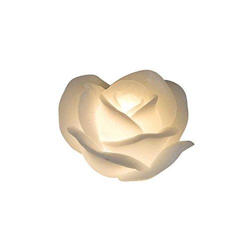 LED Wachs Kerze ROSE mit Timerfunktion D. 11cm weiß Formano