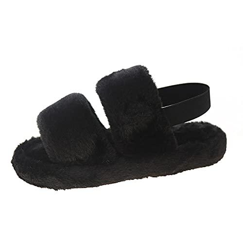Zapatillas casa Hombre Originales,Mao Shoes Shoes Women USA otoño e Invierno Suelto Conejo Piel Drag Can Love Llush Cotton Slippers-Negro_37~38
