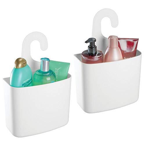 mDesign - Doucherek - douche-organizer, hangende douchemanden - voor bad- en douchecabines - voor het opbergen van shampoo, zeep en accessoires - wit - per 2 stuks verpakt