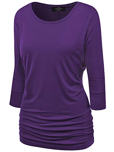 Made By Johnny MBJ WT822 Womens 3/4 Sleeve with Drape Top M Dark_Purple