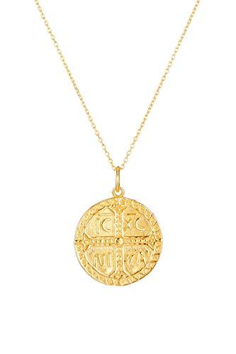 Córdoba Jewels | Gargantilla en Plata de Ley 925 bañada en Oro con diseño Medalla Cristograma Gold