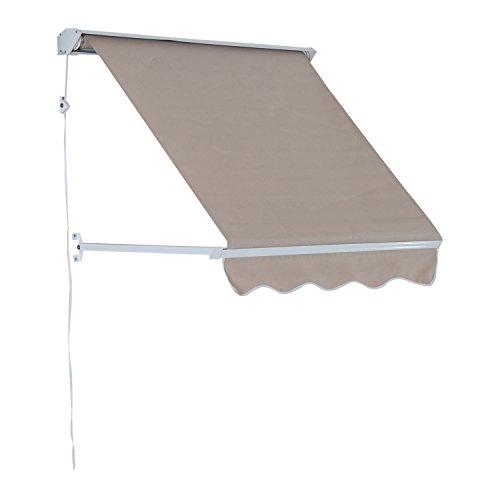 Outsunny Fenstermarkise Sonnenschutz Balkonmarkise mit Faltarm Seilzug, Aluminium+Polyester, Grau/Beige, 120x70cm