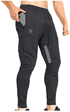 ZENWILL Mens Tapered Workout Running Pants Jogger Training Sweatpants Slim Fit with Zip Pockets product image