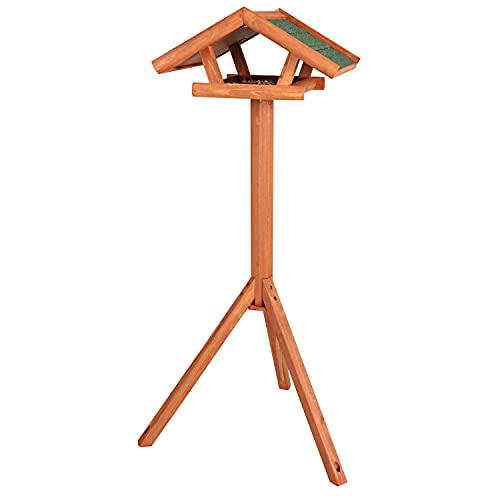 Trixie 5570 natura Futterhaus mit Ständer, 46 × 22 × 44 cm/1,15 m, braun
