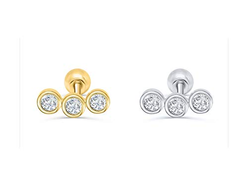 BSbattle Pendientes de plata de ley 925 para el lóbulo de la oreja, para cartílago, para mujer, coreanos, Pendientes-13-color dorado