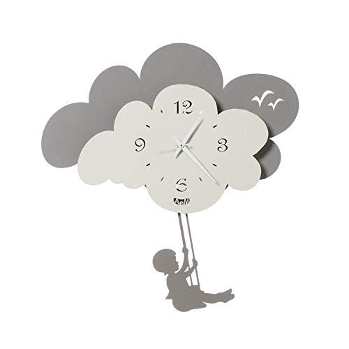 Arti & Mestieri Nuvola - Orologio da Parete con Pendolo di Design 100% Made in Italy - in Ferro, 35 x 35 cm - Avorio e Fango
