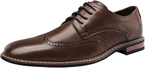 JOUSEN Men's Dress Shoes Wingtip Business Formal Shoes for Men Classic Derby Oxford (15,Dark Brown)