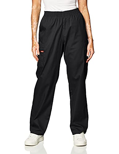 Dickies Women's Signature Elastic Waist Scrubs Pant, Black, XX-Small Petite