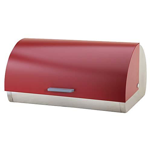 Michelino Livemore Edelstahl Brotkasten Rollbrotkasten Brotbox Brotbehälter Brotdose Brotaufbewahrung (Rot)