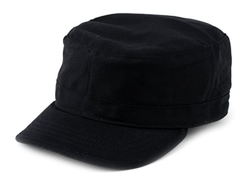 NYFASHION101 Fashionable Solid Color Unisex Fitted Army Military Cadet Cap, Black, L