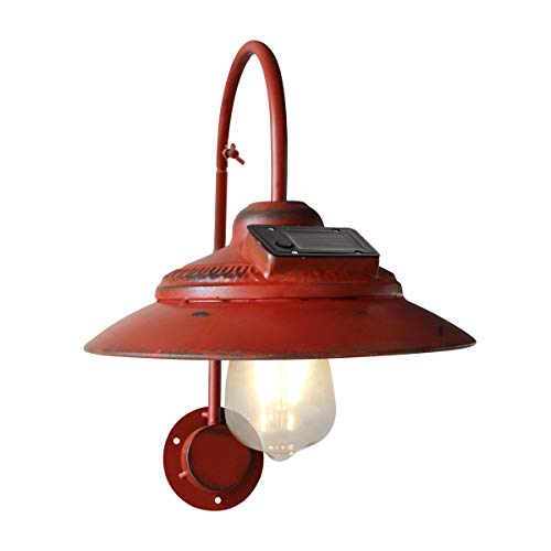 Goodeco Solar Barn Light Outdoor,Wall Mount Rustic Vintage Red Barn Light,Waterproof, No Wiring,Décor Lighting for Patio, Garden, Deck, Path Courtyard (Red)