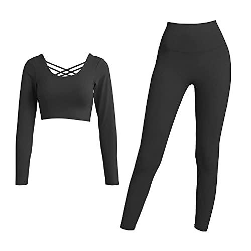 ZHZHUANG Trajes de 2 Piezas Entrenamiento de Yoga Gimnasio Manga Larga Tops Y Pantalones Conjunto de Mono,Negro,L