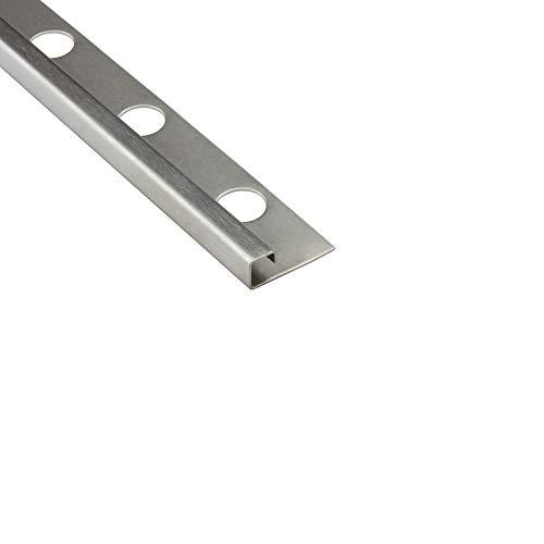 5x Quadrat Edelstahlschiene Fliesenprofil Fliesenschiene L250cm 8mm gebürstet
