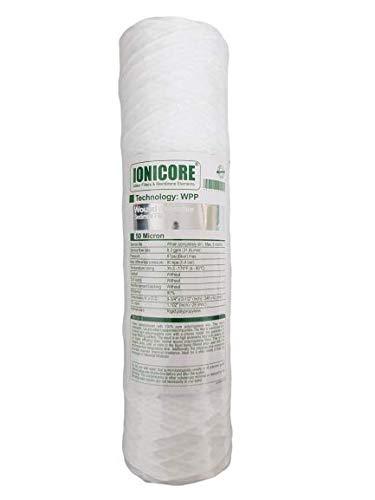IONICORE Polypropylen-Kartusche umwickelt 9-3/4 Zoll – 50 Mikron Ersatz für Osmose-Umkehranlage mit Glas