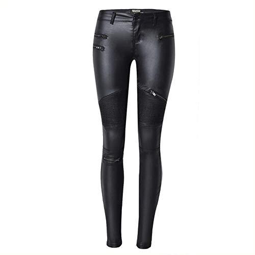XSMG Leggings Lederleggings Stretch Skinny Low Waist Hose in Leder-Optik Smooth Strumpfhose Lederoptik Slim Schwarz,Black,40