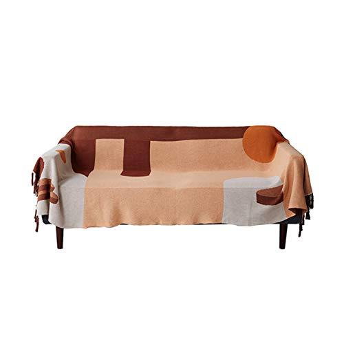 Klassischer Sofa Quastenwurf, Multifunktion Kuscheldecke Baumwolldecke Fadenhandtuch Strickteppich Tischdecke Klavier voll Schutzhülle Kissen Kreativität zum Wohnzimmer Schlafzimmer,130*160 CM