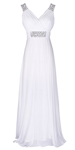 Conail Coco Women Ruched Waist Rhinestone Casual Tulle Semi-Formal Long Wedding Bridesmaid Dress (Medium, 44White)