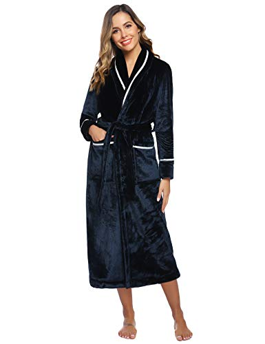 Aibrou dames badjas met capuchon zacht coral fleece ochtendjas lang winter warm saunamantel pluizig met tas