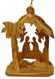 Olive Wood Ornament-Angel House Nativity by zytoon