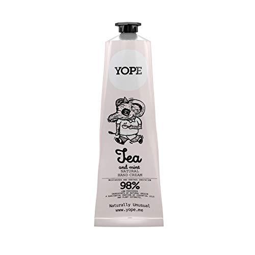 Yope Crema de manos natural | Loción de manos | Manteca de karité | 98% ingredientes naturales | Regeneración de la piel de la mano | Extracto de té verde | Extracto de menta | 100 ml (té y menta)