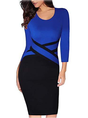 Tomwell Damen Etuikleid Business Figurbetonte Kleider Knielang Midikleid mit 3/4 Arm Frauen Kleider Elegant Blau 34
