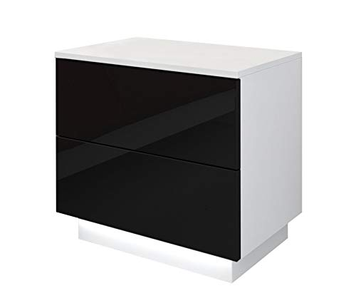 Bingo-Shop Nachttisch LED Nachtkommode Hochglanz Nachtschrank Beleuchtung Nachtkonsole 55 x 37 x 49 cm Weiß-Schwarz Schlafzimmer LED-Beleuchtung 2 Schubladen Push to Open V111