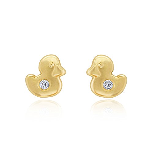 9ct Oro Amarillo Forma De Pato Con Cristal Pendientes. Caja de Regalo