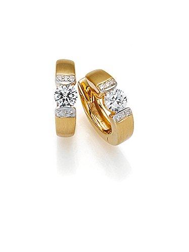 Viventy Damen-Creolen Silber vergoldet rhodiniert Zirkonia weiß - 771364