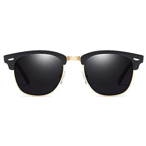 DKee Gafas de Sol Retro Clásico Polarizado De Metal Y Plástico UV400 Gafas De Sol De Tendencia Negro/Arena Negro Hombres Y Mujeres con Las Mismas Gafas De Sol De Conducción (Color : Sand Black)